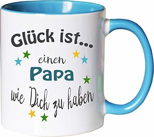 WarmherzIch Becher Tasse Glück ist… Papa Kaffee Kaffeetasse liebevoll Bedruckt Vater Vati Vatertag Vadder Weiß-Hellblau