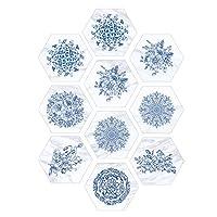 青と白の磁器の床のステッカー、防水床のステッカー、浴室の床の装飾のための粘着性のPVCステッカー滑り止め、1セット(10個)