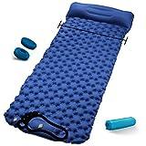 RioRand - Colchoneta hinchable de 80 cm de ancho, con almohada y hebilla, ligera, para acampada al aire libre, color azul