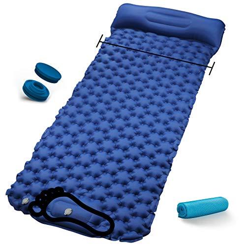 RioRand Aufblasbare Isomatte Breite 31 Zoll,Camping Matratze mit Kissen und Schnallendsign Leichte Schlafmatte,Hand oder Fuß Drücken Sie Inflating für Outdoor Camping Reisen und Wandern (Blau)