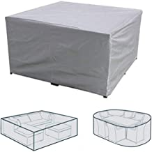 Rectangular Patio Table & Chair Set Cover, Sun Block/Waterproof/Snowproof/Windproof/Dustproof Furniture Cover, Silver, 49....