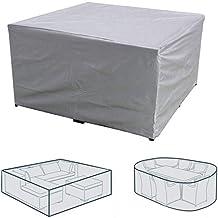 Rectangular Patio Table & Chair Set Cover, Sun Block/Waterproof/Snowproof/Windproof/Dustproof Furniture Cover, Silver, 83....
