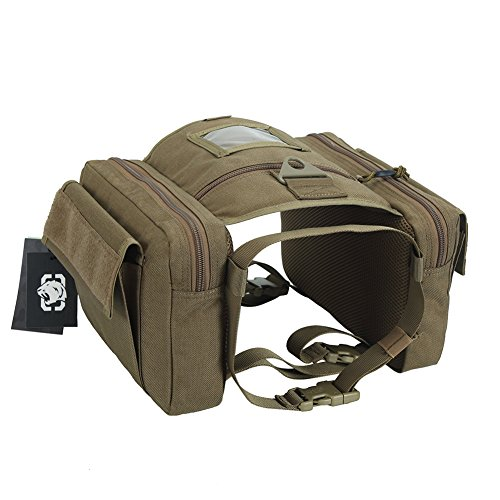 """OneTigris Dog Saddlebag Tactical Dog Pack for Dog with 20""""-26"""" Neck Girth and 34""""-42"""" Chest Girth (Coyote Brown)"""