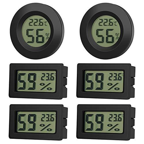EEEKit 6 Pack Mini Hygrometer Thermometer Feuchtigkeitsmesser LCD Digitalanzeige Temperatur Feuchtigkeits Messgerät für Innen Außenbereich Babyzimmer Gewächshaus Reptilien Inkubator