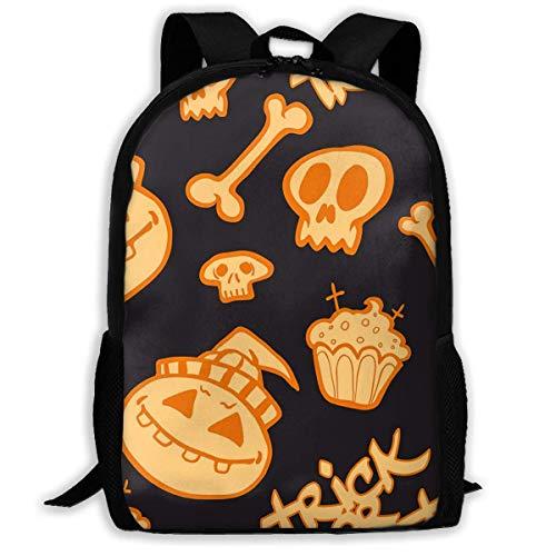 Hangdachang Halloween Pumpkin & Bones Pattern Backpack School Bag Bookbag Casual Travel Bag for Teenagers Boys Girls