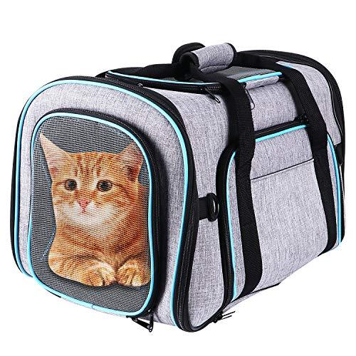Keesin, borsa pieghevole per il trasporto di gatti, in rete traspirante espandibile, borsa da viaggio per cuccioli di cani e gatti con coperta e tracolla