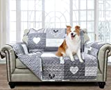 Brilliant Sunshine Gray Heart Love Patchwork, Reversible Loveseat Protector for Seat Width up to 54', Furniture Slipcover, 2' Strap, Couch Slip Cover for Pets, Kids, Dogs, Cats, Love Seat, Gray