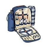 Insulated Picnic Backpack for 2 (Picnic Basket Alternative)   Cooler Compartment   Upgraded Picnic Set (Utensils, Dishes, Wine Holder, Blanket)   Food & Lunch Backpack Bag