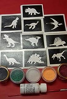 Dinosaurier-Themen Glitter Tattoo-Set mit Schablonen + Glitz