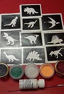 Dinosaur glitter temporary tattoo set including 30 stencils + 5 glitter colors + glue T-Rex boys children fund raising