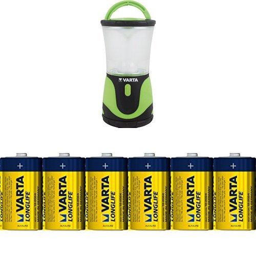 Varta 3 Watt LED Outdoor Sports Lantern mit Varta Longlife Batterie Mono D LR20 (6er Pack)