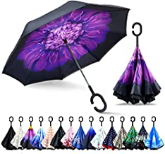 STAR WORK Men's and Women's Auto Open Golf Classic and UV-Protection Versions, J Handle Windproof Stick Umbrella with Cover (Multicolour)
