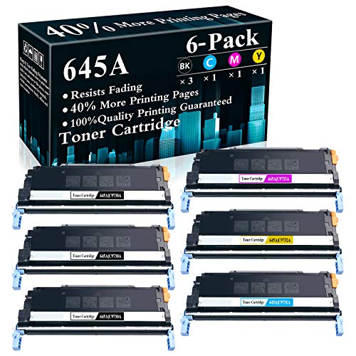 6-Pack (3BK+C+M+Y) 645A | C9730A C9731A C9732A C9733A Remanufactured Toner Cartridge Replacement for HP Color Laserjet 5550n 5550dn 5550dtn 5550hdn 5500dn 5500dtn 5500hdn Printer,Sold by TopInk
