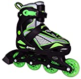 Lenexa Viper Adjustable Inline Skates for Kids, Boys, and Girls - Comfortable fit - Safety Non-Slip Wheels - Large (Youth 5 - Youth 8)