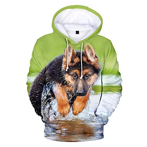 Mempire Mens 3D Printed German Shepherd Hoodie Classic Pullover Lightweight Long-Sleeve Hooded Sweatshirt Unisex Hoodie (H,M)
