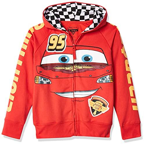 Disney Little Boys' Cars Lightning Mcqueen Hoodie, Red, S-4