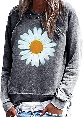 Yidarton Sweatshirt Damen Casual Sun Flower Printed Langarmshirt Rundhals Pulli Bluse Top Pullover Oberteile (542-Grau, Medium)
