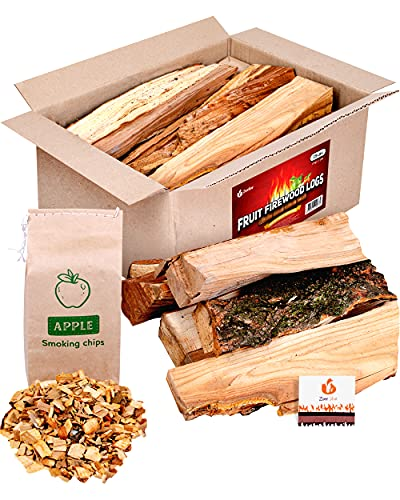 Zorestar BBQ Cooking firewood logs 15 lb - Apple (Fruit Mix) fire Wood and Chips - Box of fire logs for Camp, Grilling, Fireplace, Smoking