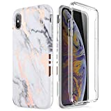 SURITCH Case for iPhone Xs Max, [Built-in Screen Protector] Gold Marble Full-Body Protection Shockproof Rugged Bumper Protective Cover Compatible with iPhone Xs Max 6.5 Inch (Gold Marble)