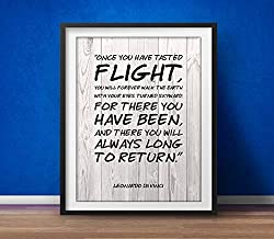 Rainbow Store Leonardo da Vinci Inspirational Print Once You Have Tasted Flight Motivational Poster Inspirational Quote Typographic Quote Beautiful Quotes