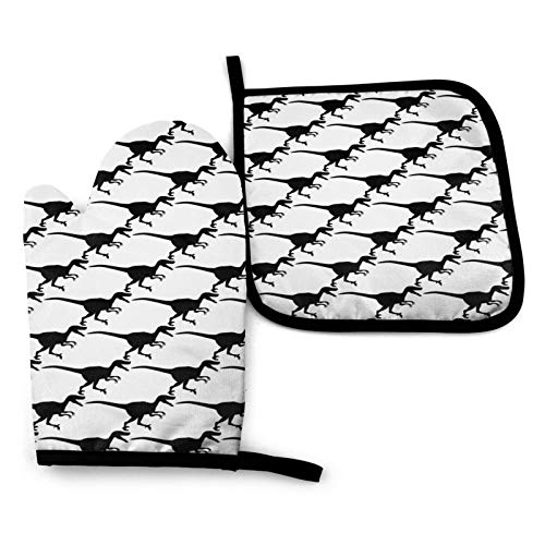 Velociraptor Dinosaur Kitchen Oven Mitts and Pot Holders Sets of 2,Resistant Hot Pads with Polyester Non-Slip BBQ Gloves for Kitchen,Cooking,Baking,Grilling