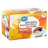 Great Value 100% Arabica Breakfast Blend Medium Ground Coffee, 0.33 oz, 12 count