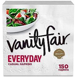 Vanity Fair Everyday Napkins, 150 Count, White Dinner Paper Napkins