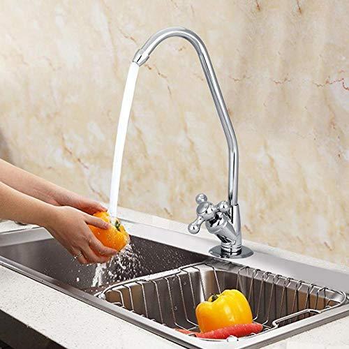 Grifo de cocina de aleación de zinc de 1/4 pulgadas, filtro de agua potable de ósmosis inversa cromado, purificación de agua de cuello de cisne,ZGUDVRYO