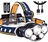 BIGFOX Linterna frontal impermeable 8 modos 5 LED, lámpara frontal recargable...