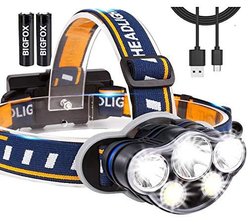 BIGFOX Linterna frontal impermeable 8 modos 5 LED, lámpara frontal recargable 2600 mAh ligera lámpara de cabeza para pesca, senderismo, camping, espeleología y deportes al aire libre