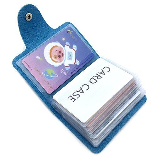 Porta Carte di Credito Pelle Donne Uomo - 24 Slot (Blu)