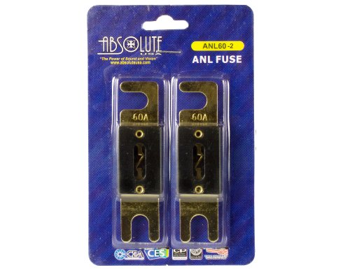 Absolute USA ANL60-2 2 Pack ANL 60 Amp Gold Plated Fuse
