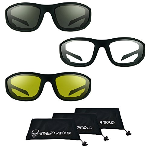 Motorcycle Sunglasses Foam Padded for Larger Head Sizes (Smoke + Clear + Yellow Combo)