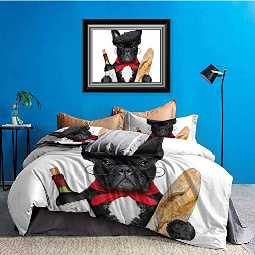 Bulldog 3 Pieces Duvet Cover Set French Dog in a Hat with Red Wine and Baguette Bread Gourmet Parisienne Animal with Zipper & Corner Ties Multicolor California King