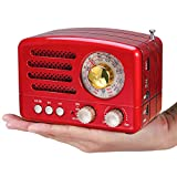 [Upgraded] PRUNUS J-160 Retro Radio AM FM Portable Transistor Radio with Bluetooth, Support