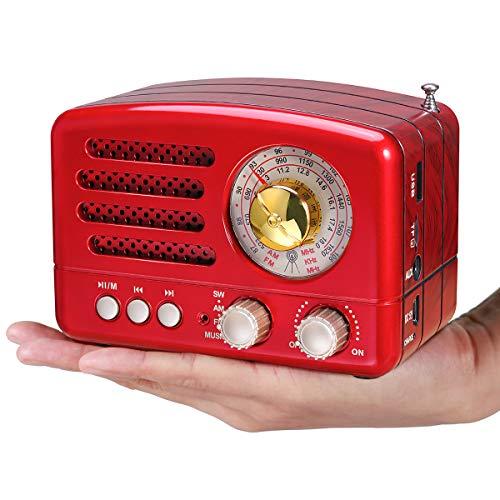 PRUNUS J-160 Retro Bluetooth Radio,Kleines Tragbares AM FM SW Radio,Unterstützt TF-Karte/Aux/USB-MP3 Lautsprecher (rot)