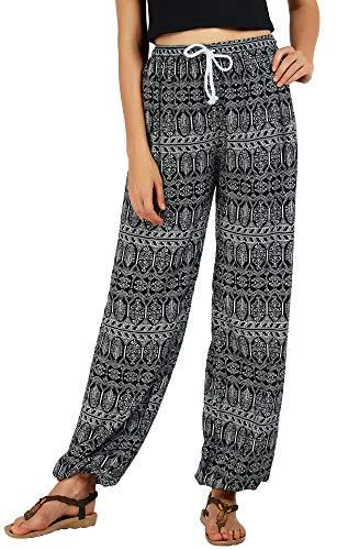 Urban CoCo Women's Floral Print Boho Yoga Pants Harem Pants Jogger Pants (L, 1)