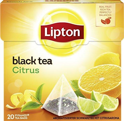 Lipton Schwarzer Tee (für einen intensiven Teegenuss Zitrone) 20 Pyramidenbeutel x 3