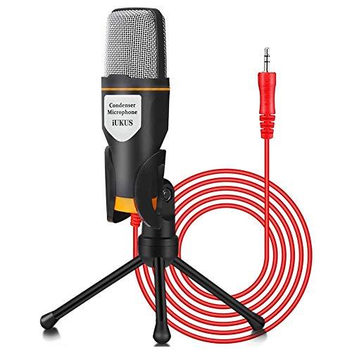 Lvozize Microfono para PC,Micrófono de Condensador Aduio Profesional Micrófono Condensador de 3,5 mm Jack con Soporte Tríupode Plug y Play para PC iPad Teléfonos Móvil Playstation4 Youtube Skype