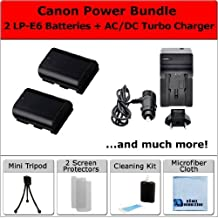 2 LP-E6 / LP-E6N Batteries + AC/DC Turbo Charger w/Travel Adapter + Complete Deluxe Starter Kit for Canon EOS 5D Mark III 6D 7D 60D 70D by eCost