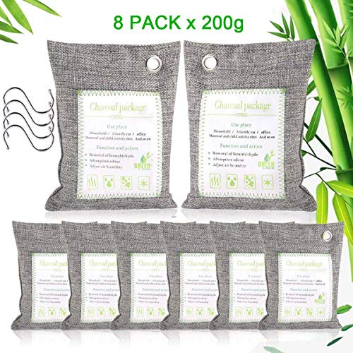 Lowest Prices! Haliluya 8 Pack Bamboo Charcoal Bags, 【8 Pack x 200g】 Natural Activated Bamboo Ch...