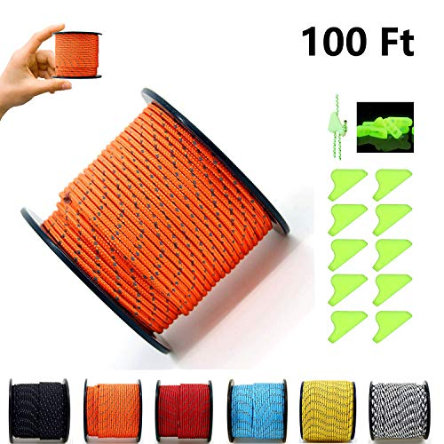 Paracord Reflective Nylon Rope Roller, 2 mm 3 Strand Super Light Cord Guyline Tent Rope for Camping, Survival Bracelets, Lanyards, Bracelets, Handle Wraps, Keychain - Ship From USA - 100 Ft/31m orange