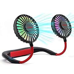 Idea Regalo - YINSAN Ventilatore Portatile,Ventilatore Indossabile da Collo Ricaricabile Mini USB,Mani Libere,Ventilatore da Tavolo,2000mAh, Doppia Ventola con 3 velocità e Luci LED per Aria Aperta,Viaggi e Sport