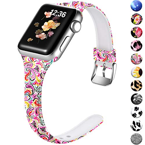 Laffav Floral Bands Compatible with Apple Watch 40mm 38mm iWatch Series 5 4 3 2 1 for Womens, Waterproof Lightweight Slim Narrow Soft Silicone Sport Wristband, S/M, Paisley
