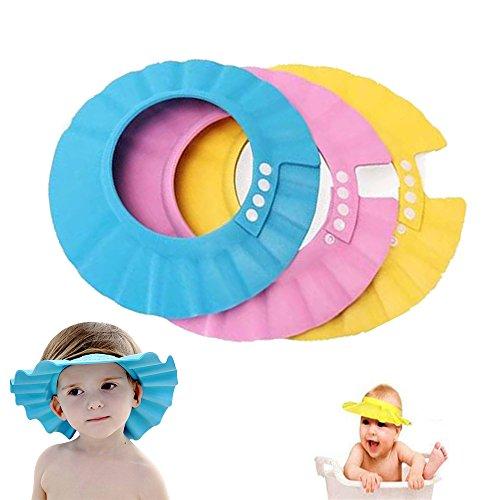 Shineus Lot de 3 visières de douche réglables et étanches pour bébé (Rose, Bleu, Jaune)