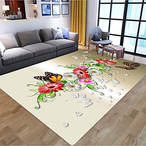 Alfombras con Diseño De Mariposa De Ensueño para Sala De Estar, Alfombra De Área De Juego para Habitación Infantil, Alfombrillas De Juego para Niños con Impresión 3D De Dibujos Animados 180*270Cm