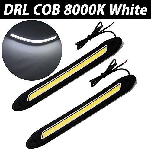 Taben Lot de 2 LED COB LED étanches 720 lm en caoutchouc souple souple 5 W 12 V avec puce COB DRL lumière du jour, feux de circulation diurnes pour véhicule universel (lame, blanc)