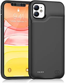 iPhone 11 Battery Case, Euhan 6000mAh Ultra Thin Rechargeable Portable Power Charging Case for iPhone 11 (6.1 inch) Extended Battery Pack Power Bank Charger Case (Black)