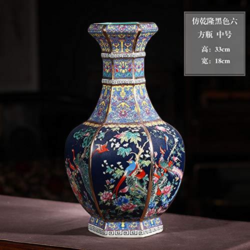 Jingdezhen Keramik Nachahmung Qianlong Gold vase blumenschmuck Retro Chinesischen Stil Wohnzimmer Dekoration Handwerk Ornamente [schwarz sechseckige Flasche] medium 33 * 18 cm