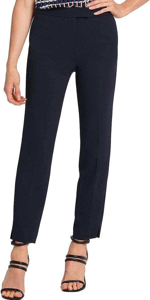 DKNY Womens High Rise Slit Hem Trouser Pants Navy 8